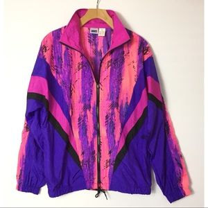 Vintage ASICS neon zip nylon windbreaker jacket
